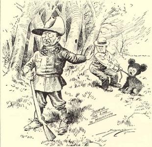 Карикатура с участием медвежонка и президента Рузвельта