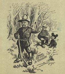 Карикатура президент США Теодор Рузвельт