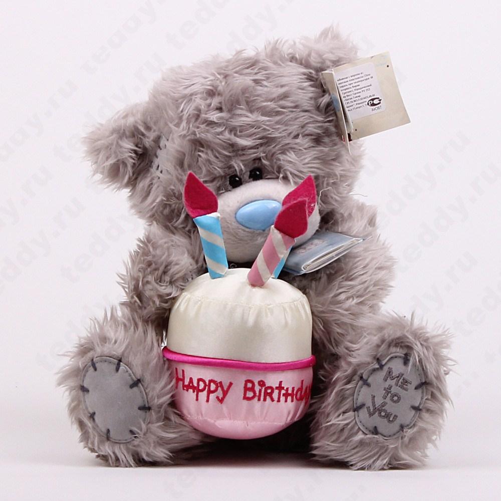 Плюшевая мишка с днем рождение