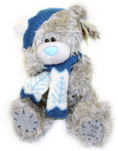 Мишка Тедди ME TO YOU 23 см в шапке и шарфе, новогодний мишка тедди...